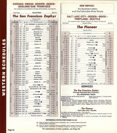 The first Pioneer timetable, May 1977. Courtesy The Museum of Railway Timetables. http://www.timetables.org/