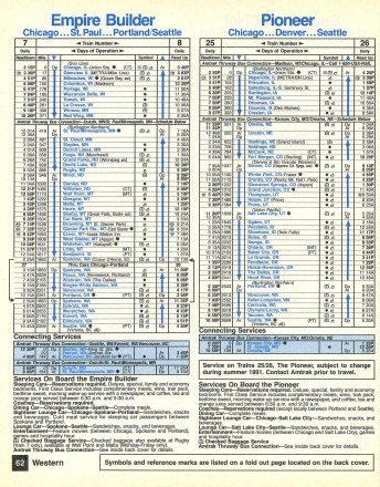 Amtrak Pioneer timetable, April 1991. Courtesy The Museum of Railway Timetables. http://www.timetables.org/