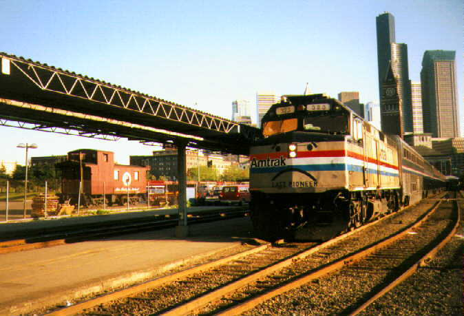 Last run of Pioneer, complete with sad face, leaves Seattle, May 10, 1997. Copyright Warren Yee, used by permission.
